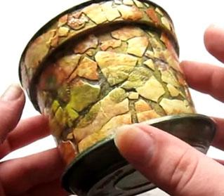 отделка мозаикой цветочного горшка