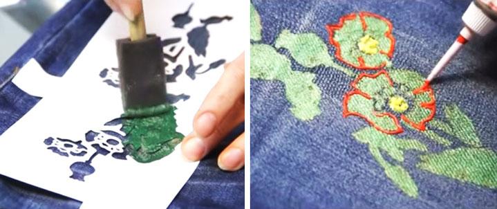 Как украсить джинсы с помощью краски