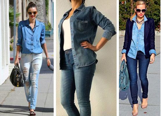 джинсовая рубашка женская с чем носить фото