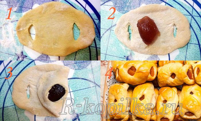 Формы булочек с повидлом: фото пошагово и как делать