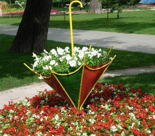 цветник в виде зонта