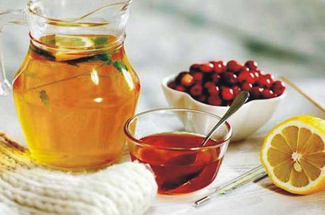 лимон, мед, калина от простуды