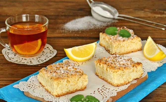 постный тертый пирог с лимоном