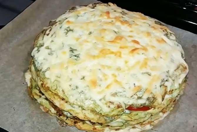 рецепт помидорно-сырного торта из кабачков